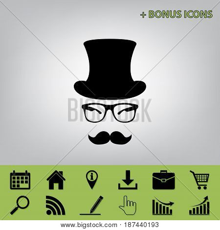 Hipster accessories design. Vector. Black icon at gray background with bonus icons at celery ones