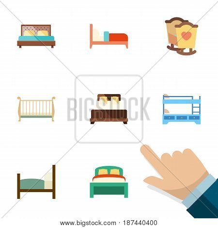 Flat  Set Of Mattress, Hostel, Furniture And Other Vector Objects. Also Includes Bed, Double, Cot Elements.