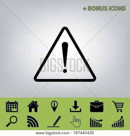 Exclamation danger sign. Flat style. Vector. Black icon at gray background with bonus icons at celery ones