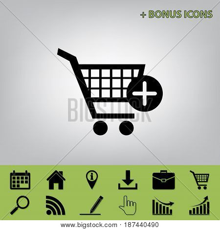 Shopping Cart with add Mark sign. Vector. Black icon at gray background with bonus icons at celery ones