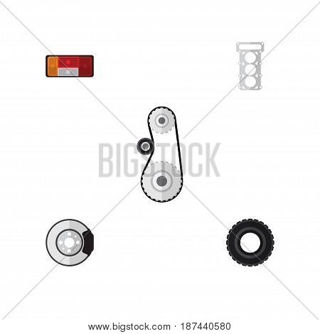 Flat Auto Set Of Packing, Metal, Cambelt And Other Vector Objects. Also Includes Gasket, Headlight, Car Elements.