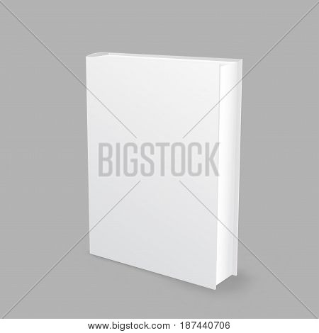 Standing closed white paper book with shadow on gray background. Empty cover template. Education literature symbol. Author writer show product