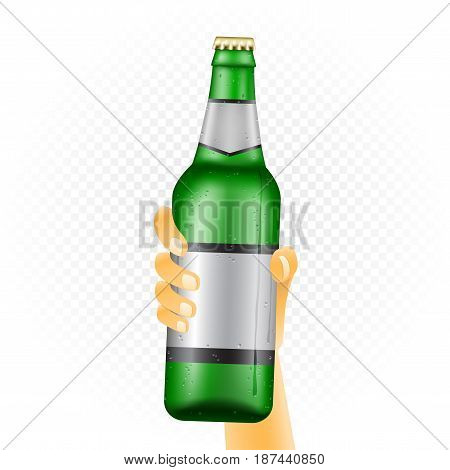 Large beer bottle template hold up in hand isolated on white transparent background. Can of drink show concept with water condensate