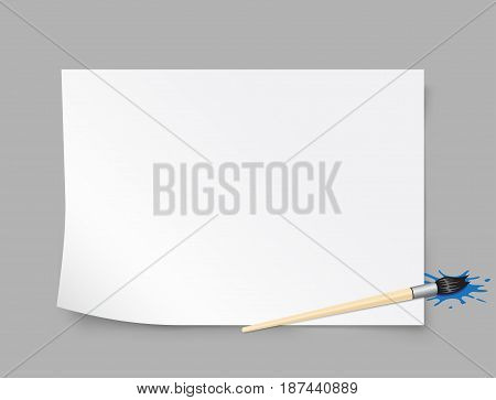Paper template brush to educatoin drawing with shadow on gray background