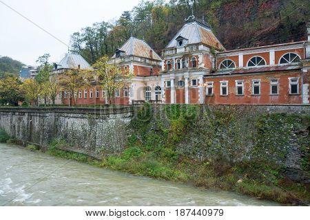 Old abandonNed buildings in Herculane, Romania, Europe