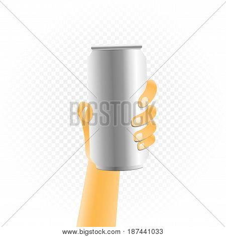 Small can of drink template hold up in hand isolated on white transparent background. Metal bottle show concept
