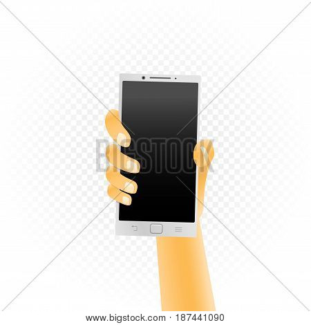 White smartphone template hold up in hand isolated on white transparent background. Phone technology show concept