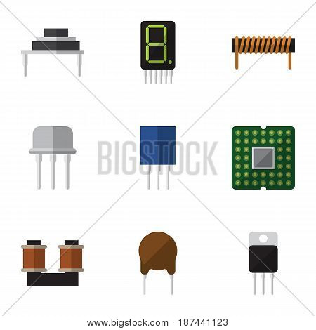 Flat Device Set Of Receiver, Receptacle, Resist And Other Vector Objects. Also Includes Transistor, Display, Bobbin Elements.