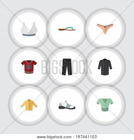 Flat Garment Set Of Beach Sandal, Lingerie, Uniform Vector Objects. Also Includes Clothes, Sandal, Lingerie Elements.