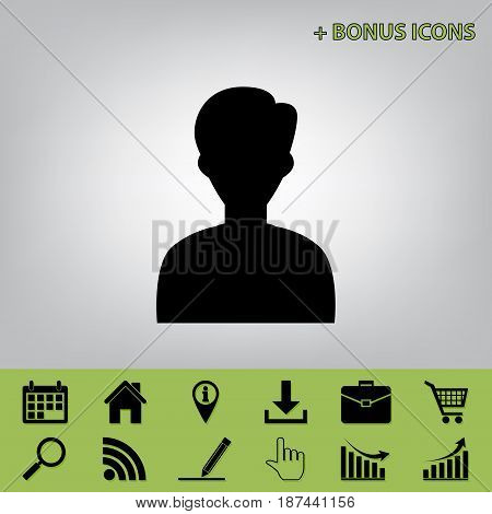 User avatar illustration. Anonymous sign. Vector. Black icon at gray background with bonus icons at celery ones