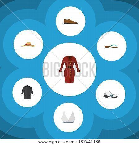 Flat Garment Set Of Beach Sandal, Uniform, Male Footware Vector Objects. Also Includes Sport, Flip, Footware Elements.