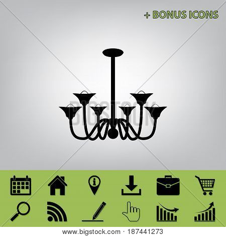 Chandelier simple sign. Vector. Black icon at gray background with bonus icons at celery ones