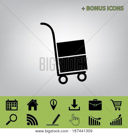 Hand truck sign. Vector. Black icon at gray background with bonus icons at celery ones
