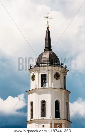 Vilnius, Lithuania. Close Up View Of Bell Tower Of Cathedral Basilica Of St. Stanislaus And St. Vladislav On Cathedral Square, Famous Landmark