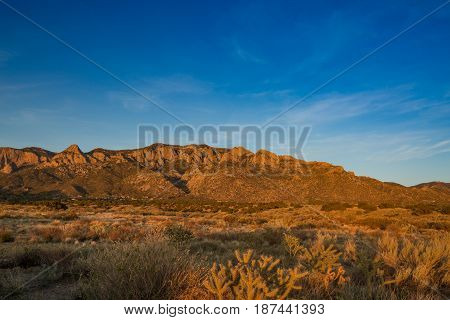 Sandia montan range in New Mexico at sunset