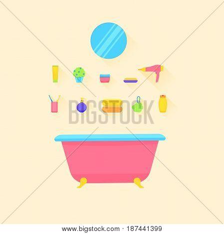 Bathroom accessories. and bath tub. Vector illustration