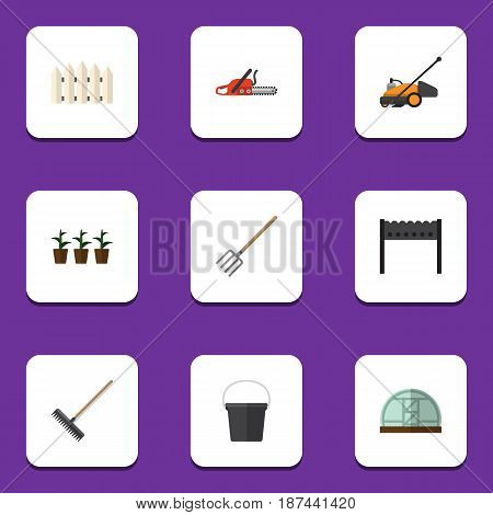 Flat Farm Set Of Wooden Barrier, Hacksaw, Barbecue And Other Vector Objects. Also Includes Wooden, Farm, Fence Elements.