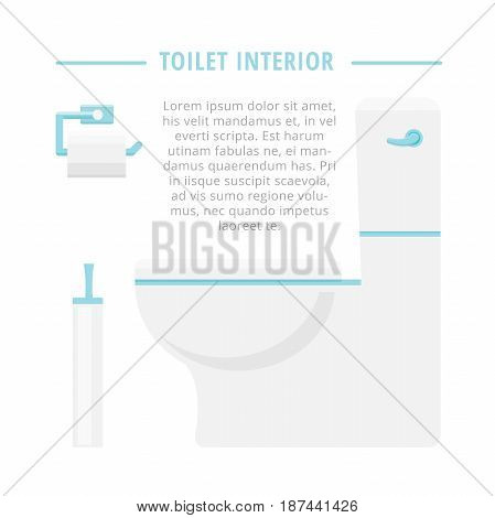 Toilet, paper and brush. Vector illustration for toilet interior.