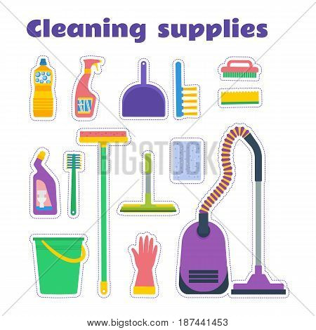 Cleaning supplies sticker set. Vector illustration: vacuum cleaner, mop, dustpan and brush, chemicals