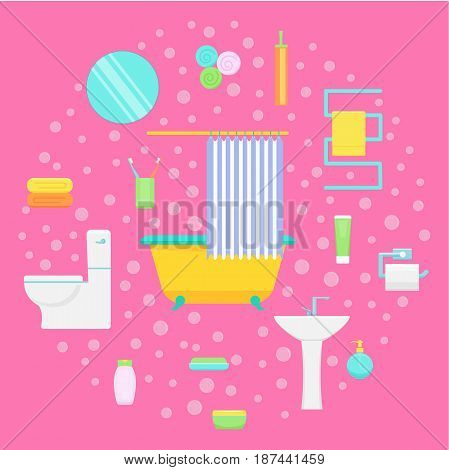 Bathroom interior and accessories: mirror, bath tub, sink. Vector illustration