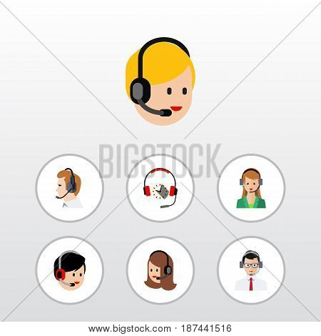 Flat Telemarketing Set Of Service, Telemarketing, Call Center And Other Vector Objects. Also Includes Telemarketing, Operator, Call Elements.