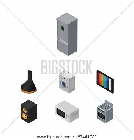 Isometric Appliance Set Of Air Extractor, Kitchen Fridge, Music Box And Other Vector Objects. Also Includes Tv, Loudspeaker, Box Elements.