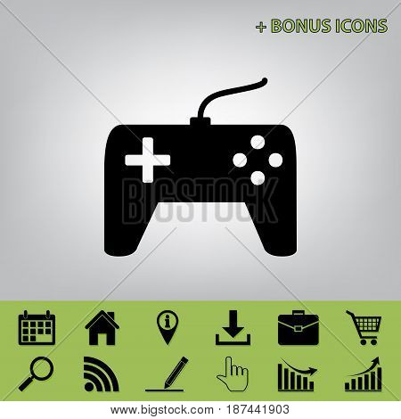 Joystick simple sign. Vector. Black icon at gray background with bonus icons at celery ones