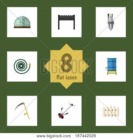 Flat Garden Set Of Cutter, Barbecue, Grass-Cutter And Other Vector Objects. Also Includes Wooden, Scythe, Container Elements.