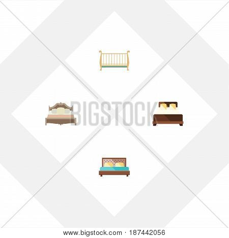 Flat Bed Set Of Hostel, Bedroom, Cot And Other Vector Objects. Also Includes Bedroom, Mattress, Crib Elements.