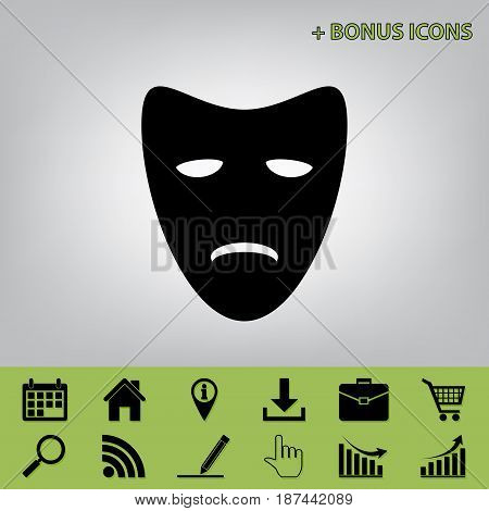 Tragedy theatrical masks. Vector. Black icon at gray background with bonus icons at celery ones