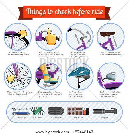 Bicycle safety inspection checklist every time before ride. Vector infographics illustration on white background