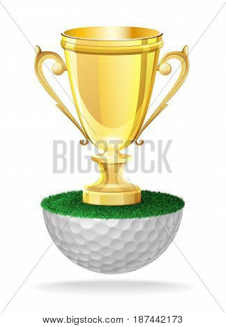 Shiny golden cup trophy on golf ball. Vector isolated illustration on white background