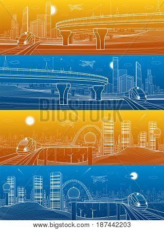 Infrastructure and transportation panorama set, train move, day and night modern city, towers and skyscrapers, urban scene, skyline, white lines landscape, airplane fly, vector design art