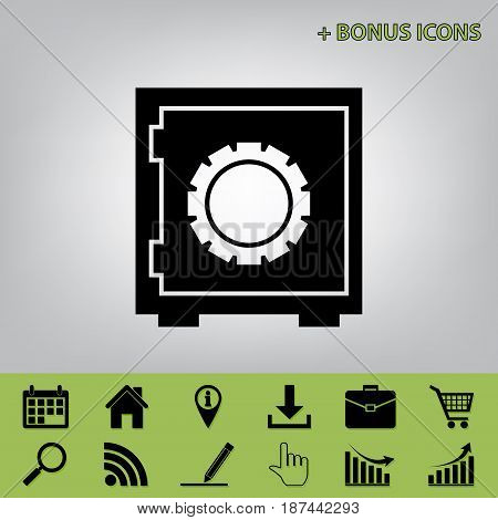 Safe sign illustration, crib, vault, lock box. Vector. Black icon at gray background with bonus icons at celery ones