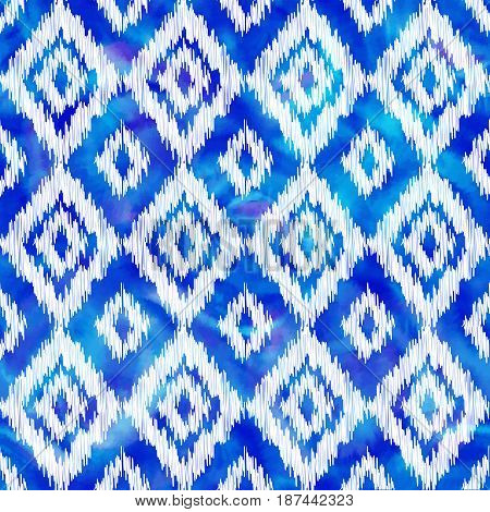 Blue stitched rhombus ornament on watercolor background, vector seamless pattern