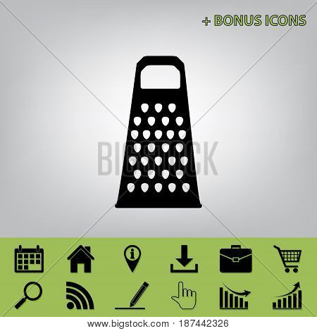 Cheese grater sign. Vector. Black icon at gray background with bonus icons at celery ones