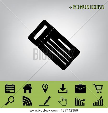Ticket simple sign. Vector. Black icon at gray background with bonus icons at celery ones