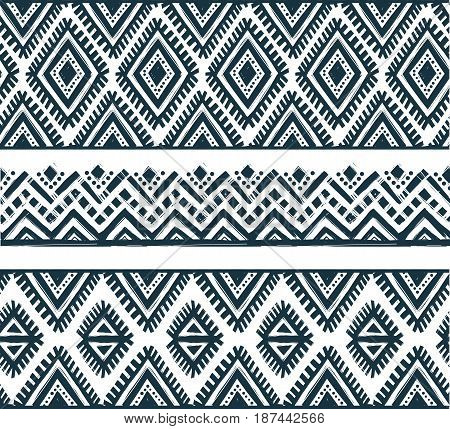 Set of line tribal ethnic seamless line patterns