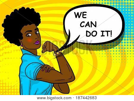 Black african-american beautiful pop art woman. Advertise WE CAN DO IT girl power. Vector illustration halftone background. Cartoon comic book speech text bubble. Bright colored pin up worker female.