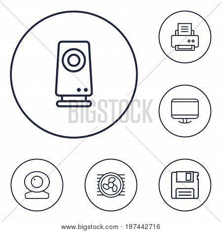 Set Of 6 Laptop Outline Icons Set.Collection Of Floppy, Web Cam, Printer And Other Elements.