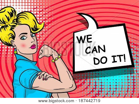 White blonde beautiful pop art woman. Advertise WE CAN DO IT girl power. Vector illustration halftone background. Cartoon comic book speech text bubble. Bright colored pin up worker female.
