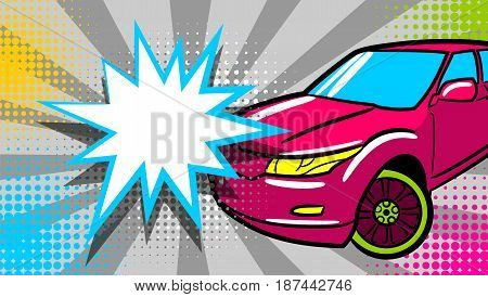 SUV car pop art style. Cartoon jeep comic book background. Sport utility vehicle on sunbeam poster banner in bright color. Luxury roadster with text star crash speech bubble balloon.