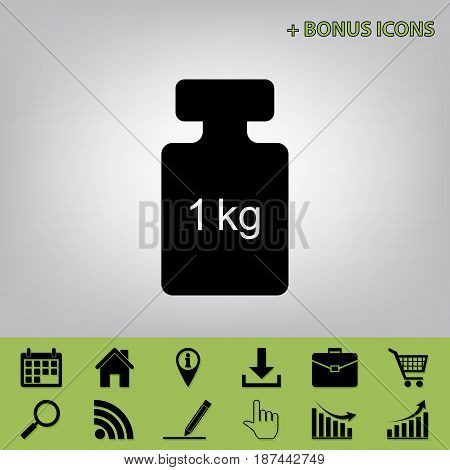 Weight simple sign. Vector. Black icon at gray background with bonus icons at celery ones