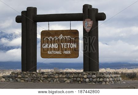 Sign, Grand Teton National Park, Obtained 2016, Located At South Entrance To Park Near Jackson Hole