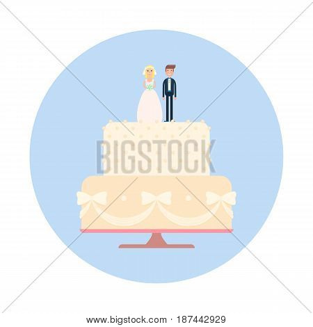 Wedding cake with newlyweds figures. Vector illustration of bride and groom on a cake.