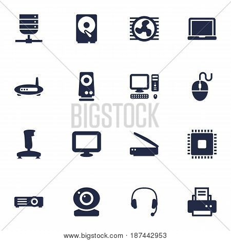 Set Of 16 Computer Icons Set.Collection Of Display, Amplifier, Joystick And Other Elements.