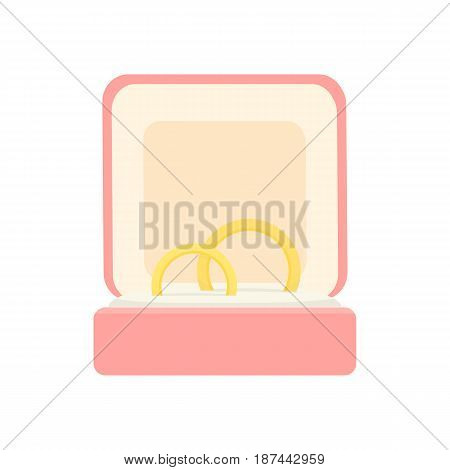 Vector illustration a two wedding rings in a gift box