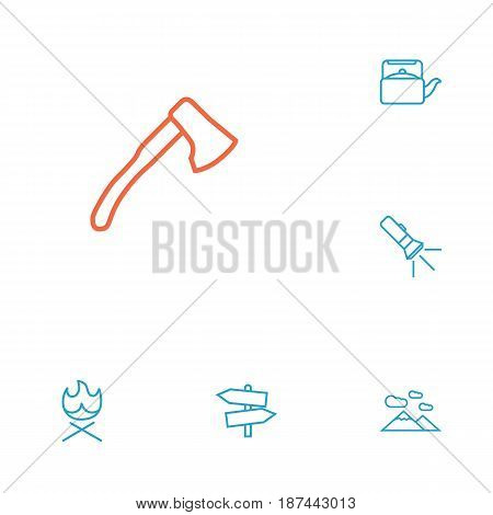 Set Of 6 Outdoor Outline Icons Set.Collection Of Mountains, Ax, Bonfire And Other Elements.
