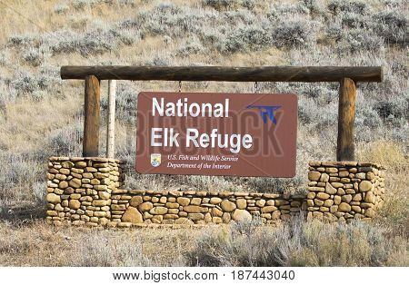 National Elk Refuge Sign, Located At The South Entrance To Park, Obtained 2016, In Jackson, Wy
