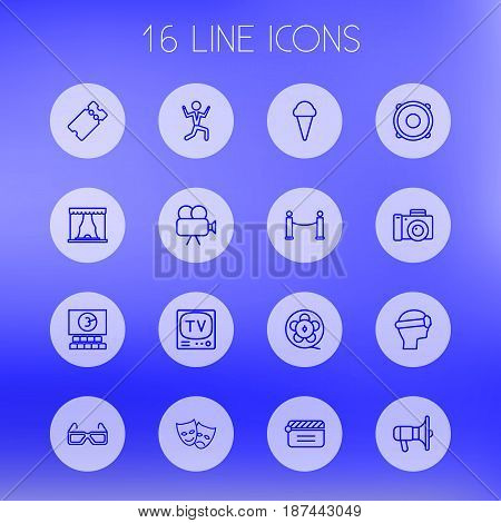 Set Of 16 Amusement Outline Icons Set.Collection Of Film Role, Theater, Masks And Other Elements.
